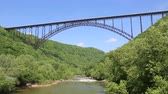 New River and the bridge - WV Stock Footage