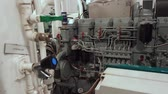 Diesel generator tug AHTS in the hold below waterline Stock Footage