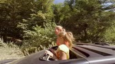 escotilha : Two happy smiling young blondes waving their hands out of the hatch of a car on the move against the forest Vídeos