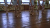 tutu skirt : Legs of girls standing in third position during ballet lesson in frayed classroom. Stock Footage