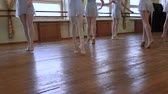 frayed : Group of young ballerinas dance during ballet class.