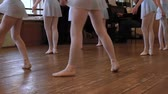 tutu skirt : Legs of balerinas who do exercises during ballet lesson in ballet classroom Stock Footage