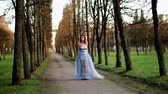 excitação : Attractive girl with black brows and curly hair in silver and blue dress poses standing on path of parkway during photoshoot. Stock Footage