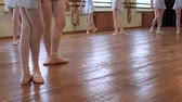 frayed : Legs of ballerinas in pointes and ballet suits walk along barre and dance