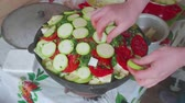 uzbek : Hands of white cook put sliced marrow on tomatoes in large cooking pot with vegetables.