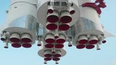 Bootom view of carrier rocket nozzles Stock Footage