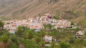 canárias : View of architecture of little town Fataga from hill