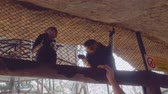 primacy : Two lovely monkeys siit behind fence. White woman gives them banana Stock Footage