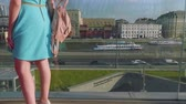 touristic place : View of underground museum and Mosckva river from bridge of Zaryadye park Stock Footage