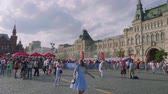 worldcup : Football fans and tourists walk in football centre in Red square