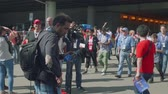 contagem : MOSCOW - CIRCA JULY, 2018: View of camera crew ready to interview football fans