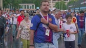 worldcup : View of football fans after match between Russia and Spain. Luzhniki stadium Stock Footage