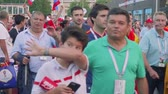 soccer background : View of football fans after match between Russia and Spain. Luzhniki stadium Stock Footage