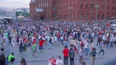 worldcup : MOSCOW - CIRCA JUNE, 2018: Thousands of fans in centre of Moscow celebrating victory of Russian football team