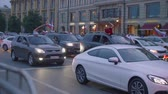 фест : View of cars on road with Russian flags and fans aftter Russia won match Russia vs Spain Стоковые видеозаписи