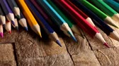 papier : Drawing supplies: many different colored pencils. Macro shot.