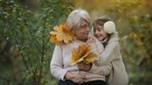 Grandmother with granddaughter in autumn garden Стоковые видеозаписи