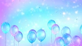 ruban bleu : Holiday seamless blue and purple background with flying balloons and shining confettis. Looped 4K motion graphic.