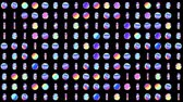 Geometric looped pattern with rotating holographic circles for abstract disco background. Looped 4K motion graphic. Vídeos