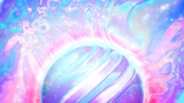 Abstract futuristic background with holographic iridescent Space, Sun, planet for virtual reality effect.