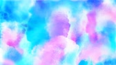 Beautiful blue, cyan, azure and pink colorful spots appear on a white background. 4K motion graphic.