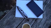 ハードカバー : book, glasses, mobile phone and coffee