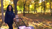 gezinmek : Laughing woman with baby stroller in park Stok Video
