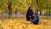 ahornbaum : Young woman and boy playing with leaves in park