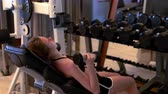 weights : Young woman working out with dumbbell weights