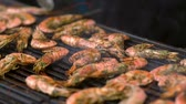 kraliçe : Slow pan over seasoned fresh prawns on a grill Stok Video