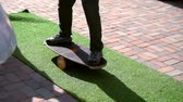 halı : Young man balancing on a skateboard Stok Video