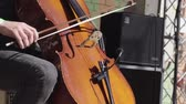 Man playing a double bass during a performance Stock Footage