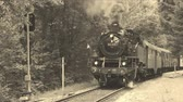 waggon : Old steam locomotive is starting, old film