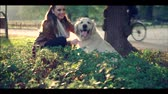 tur : Woman with friendly dog Stok Video