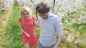 lifestyle : Cheerful couple in romantic orchard Stock Footage