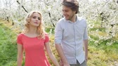 романтический : Cheerful couple in romantic orchard Стоковые видеозаписи
