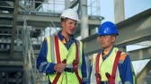 Industrial engineer and worker discussing in factory