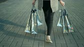 bolsa de compras : Woman walking and holding many shopping bags