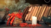 advento : Christmas candle burning Stock Footage
