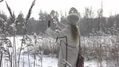 kurtka : The young woman in a white jacket photographs a panorama of the coast of the winter forest lake on the smartphone,It is snowing