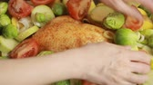 leeks : Cooking chicken with vegetables in a glass Stock Footage