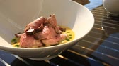 pasztet : A dish of a gourmet restaurant. close-up. Pork with vegetables Wideo