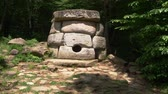 türbe : Dolmen in the forest. 4k, slow motion. Steadicam Shot