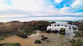 거품 : sea ebb, rocky seashore after low tide against a blue sky and clouds. seascape 무비클립