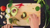лосось : avocado. concept of healthy eating and healthy lifestyle. view from above. cooking avocado sandwiches.