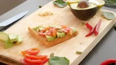 kaše : avocado. concept of healthy eating and healthy lifestyle. cooking avocado sandwiches.