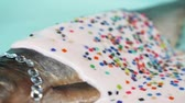деликатес : fashion design food. fish herring with rhinestone, pink sauce and a confetti