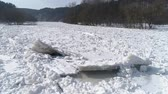 Ice in Frozen River Neris, Close up Stok Video