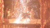 grotesque : fire show artist make performance Stock Footage