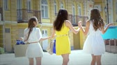 shopaholic : Three cute girls walking hand in hand while shopping